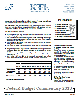 Federal Budget Commentary 2013